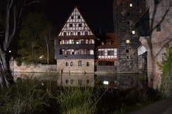Maison à colombage de Nuremberg de vieille ville Photo stock