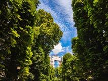 Maison à plusiers étages en construction de paysage contre le ciel photographie stock libre de droits