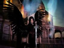 Maison 3D brûlante avec l'ange. illustration stock