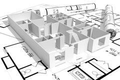 maison 3d moderne, et modèles d'isolement sur le blanc Image libre de droits