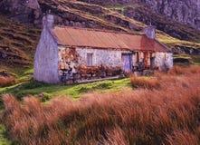 Maison abandonnée de ferme, Culkein, Drumbeg, Ecosse Images stock
