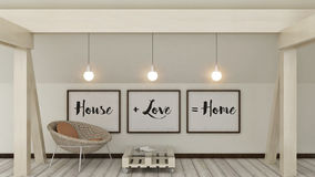 Maison, amour, famille et concept de bonheur Affiches dans la décoration intérieure de maison scandinave de style de cadre 3d ren Images libres de droits