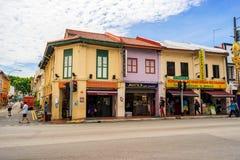 Maison antique à peu de secteur d'Inde à Singapour Image stock