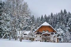 Maison autrichienne dans la neige Images stock