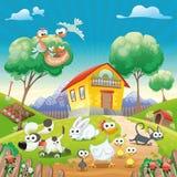 Maison avec des animaux. Image libre de droits