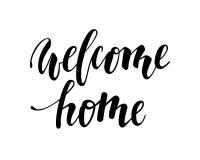 Maison bienvenue Calligraphie et lettrage tirés par la main de stylo de brosse Photos stock