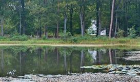 Maison blanche à un lac dans la forêt photos libres de droits
