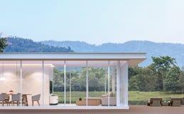 Maison blanche moderne avec l'image de rendu de la vue 3d de lac Images stock