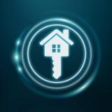 maison bleue blanche et rougeoyante du rendu 3D d'icône Image libre de droits