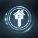 maison bleue blanche et rougeoyante du rendu 3D d'icône Images libres de droits
