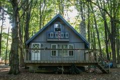 Maison bleue dans les bois Photos libres de droits