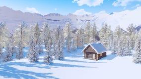 Maison bloquée par la neige de bois de construction en montagnes au jour d'hiver banque de vidéos