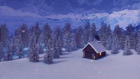 Maison bloquée par la neige en montagnes la nuit neigeux hiver illustration stock