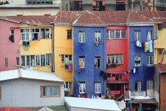 Maison brillamment colorée à Valparaiso Photo libre de droits