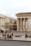 Maison Carrée, Roman Temple em Nîmes, França Fotos de Stock Royalty Free