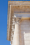 Maison Carree Corinthian capitals. Corinthian capitals of the Maison Carree in Nimes, France Royalty Free Stock Images