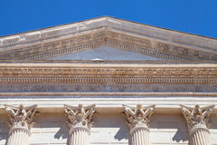 Maison Carree Pediment Stock Photography