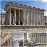 Maison Carree - romersk tempel Nimes Frankrike Arkivfoto