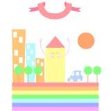 Maison colorée sur l'arc-en-ciel Photographie stock