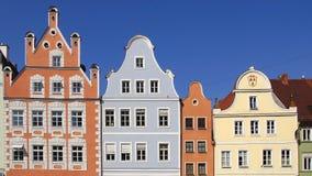 Maison colorée unique antique dans la vieille ville médiévale historique Landshut photo stock