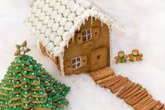 Maison comestible de biscuit dans la neige images libres de droits