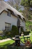 Maison couverte de chaume avec le bidon à lait décoré Image stock