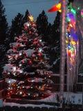 Maison d'éclairage de Noël Photographie stock libre de droits