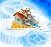maison 3d avec des notes du dollar Photographie stock