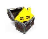 Maison d'or dans le coffre au trésor, rendu 3D Photographie stock