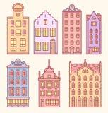 Maison d'Europe ou ensemble d'appartements de croquis de griffonnage Architecture mignonne aux Pays-Bas Maisons confortables pour illustration libre de droits