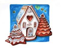 Maison d'hiver de pain d'épice, tirée par la main Photo libre de droits