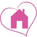 Maison d'icône au coeur Images stock