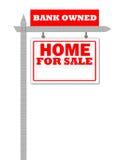 Maison d'immeubles à vendre le signe Image stock