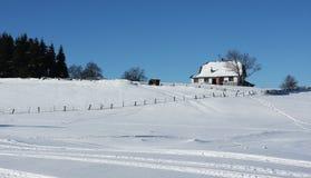 Maison d'isolement sur la montagne Images libres de droits