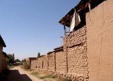 Maison d'Uzbekistan Mayskiy Adobe dans le village 2007 Image libre de droits