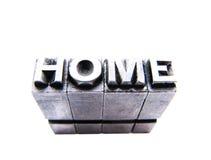 Maison dans des blocs d'impression typographique de cru Images stock
