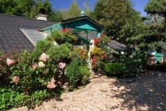 Maison de bébé de chien avec des fleurs Photo libre de droits