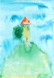Maison de bande dessinée d'aquarelle Image libre de droits