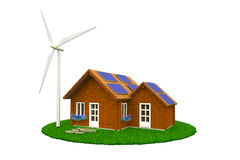 Maison de bois de construction avec de l'énergie renouvelable Image libre de droits