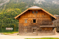 Maison de bois de construction. St Bartholoma.Konigssee.Germany Images stock