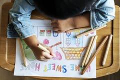 Maison de bonbon à maison de coloration d'enfant en bas âge Images stock