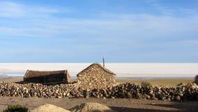 maison de Boue-brique, dans un petit village au pied de Tunupa volcan image stock