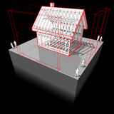 Maison de cadre avec le diagramme de dimensions Photographie stock