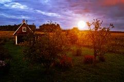 petit village russe au coucher du soleil image stock image 4922601. Black Bedroom Furniture Sets. Home Design Ideas