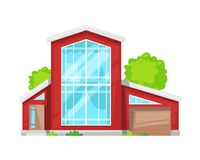 Maison de campagne colorée, cottage de famille, récréation de manoir, immobiliers illustration stock