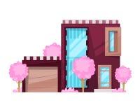 Maison de campagne, cottage de famille, récréation de manoir Immobiliers dans la campagne illustration stock