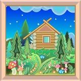 Maison de campagne dans la photo magique de forêt dans le cadre Photo stock
