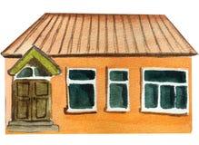 Maison de campagne Illustration d'aquarelle pour la conception illustration de vecteur