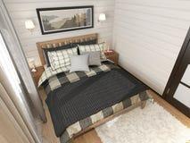 Maison de campagne intérieure de chambre à coucher photo stock