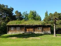 Maison de campagne typique norvégienne de toit d'herbe comme dans une forêt magique images libres de droits